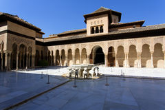 Patio de los Leones, Patio of the Lion, in the Palacios Nazaries. Alhambra, Granada, Andalucia, Spain Stock Photography