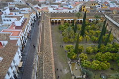 Patio de los naranjos desde el cielo. Aerial View of the Patio de los Naranjos of the Mosque of Córdoba.Imagen taken from the bell tower about 30 meters high Stock Photo