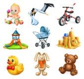 Patio 2 de los niños Niños y juguetes Iconos del vector fijados ilustración del vector