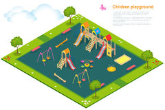 Patio 2 de los niños Vector isométrico plano 3d Imagenes de archivo