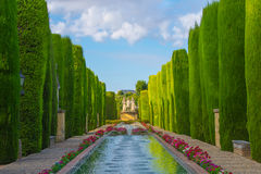 Patio de los Reyes in the gardens of Alcazar, Cordoba. Royalty Free Stock Images