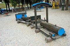 Patio de madera del tren Imagen de archivo libre de regalías