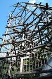 Patio de madera en parque Foto de archivo