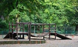 Patio de madera polaco en el parque Imágenes de archivo libres de regalías
