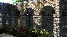 Patio de un castillo con la pared del castillo Imágenes de archivo libres de regalías