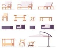 Patio de vecteur et ensemble extérieur de meubles illustration libre de droits