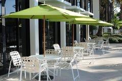 Patio Deck Furniture. With umbrellas Stock Photo