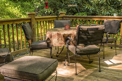 Patio Deck. Outdoor patio deck with furniture in the mountains of North Carolina Royalty Free Stock Image