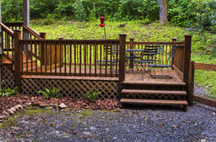 Patio Deck. Wooden patio deck with furniture at cabin in North Carolina stock photography