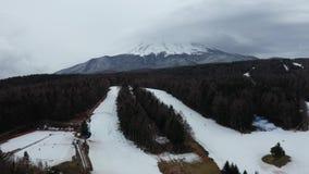 Patio del esqu? de la visi?n a?rea y Mt Monta?a de Fuji en Jap?n almacen de video