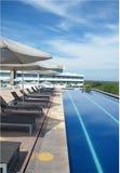 Patio del hotel por la tarde del verano Imagen de archivo