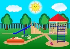 Patio del ` s de los niños Curtoon, diseño plano stock de ilustración
