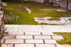 Patio delle mattonelle con prato inglese Fotografia Stock Libera da Diritti