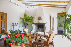 Patio with dining area and fireplace in Peru Stock Photo