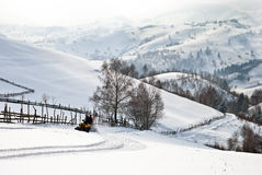 Patio en paisaje del invierno Fotos de archivo libres de regalías