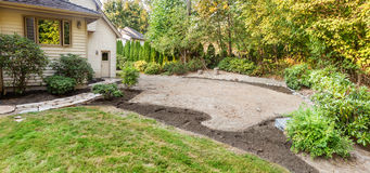 Patio and flower beds prepped for paving Royalty Free Stock Images