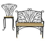Patio furniture. 3D render of a patio bench and chair Stock Image