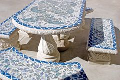Patio furniture. Set of cement patio furniture Stock Photo