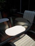 Patio Furniture in Backyard. Suburban home backyard with patio furniture and umbrella Stock Photography