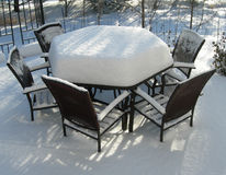 Patio furniture in winter Stock Image