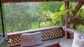 Patio in garden of Copsa Mare, Transylvania, Romania Stock Photo
