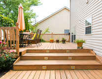 Patio and garden of family home Royalty Free Stock Photos