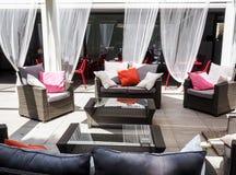 Patio garden furniture in Rome. Backyard, patio and garden furniture in an Italian home in Rome Stock Photo