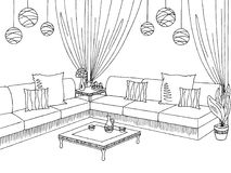 Patio garden graphic black white sketch illustration. Vector Royalty Free Stock Images