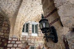 Patio of the Greek monastery in Ramla. RAMLA, ISRAEL - JULY 22, 2017: Patio of the Greek monastery of St. George the Victorious in Ramla stock photo