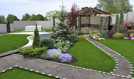 Patio horticultural background, 3d rendering Stock Image