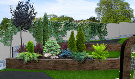 Patio horticultural background, 3d rendering Royalty Free Stock Images