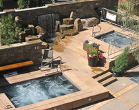 Patio with Hot Tubs Stock Photo