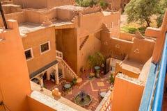 Patio of the house in Medina Ouarzazate, Morocco. Refreshing mint tea on the patio of the house in Medina Ouarzazate, Morocco Stock Image