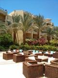 Patio im ägyptischen Hotel Stockbilder