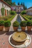 Patio of the irrigation ditch of Generalife, Alhambra. Patio of the irrigation ditch,Patio de la Acequia, of Generalife, Alhambra, Granada, Andalusia, Spain royalty free stock images