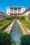 Patio of the irrigation ditch,of Generalife, Alhambra royalty free stock images