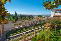 Patio of the irrigation ditch of Generalife, view of Alhambra stock photos