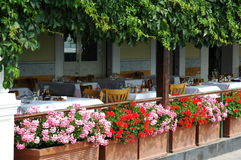 Patio in Italy. An Italian patio waiting for customers stock image