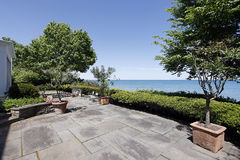 Patio with lake view Stock Photo