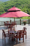Patio by the lakeside Stock Photography