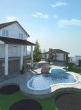 Patio living space arrangement, 3d render Stock Photo