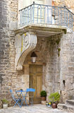 Patio among medieval walls in Chateauneuf castle Stock Photo