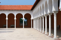 Patio of the modern building in Spanish style. Royalty Free Stock Photography