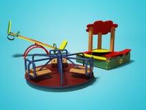 Patio moderno para los niños con la salvadera y los oscilaciones 3d rendir en fondo azul con la sombra ilustración del vector