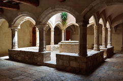 Patio in the monastery Santes Creus Royalty Free Stock Image