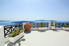 Patio overlooking Aegean Sea Royalty Free Stock Images