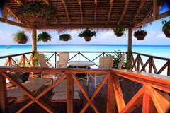 Patio overlooking Carabbean sea Stock Photo
