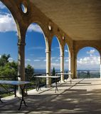 Patio overlooking Mallorca Stock Images