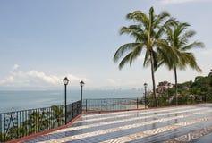 Patio overlooking ocean Stock Photo