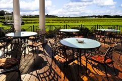 Patio overlooking vineyard Stock Photos